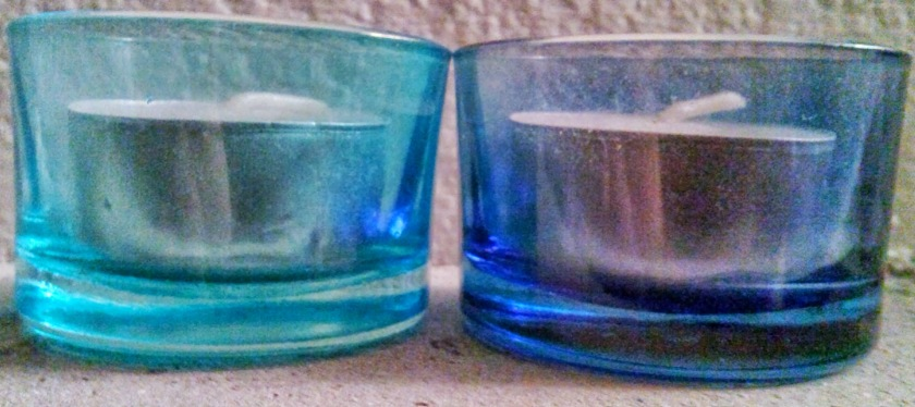 Two Blue Tealight Holders